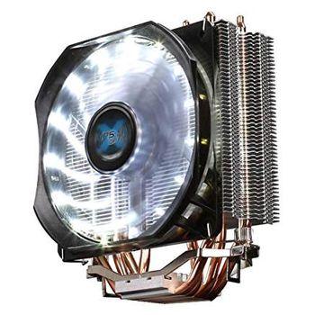 "ZALMAN Cooler  ""CNPS9X Optima"", Socket 115x/775 & AM4/AM3/FM2, up to 180W, White LED fan: 120х120х25mm, 600~1500rpm, 17~26 dBA, 60.98CFM, 4 pin, PWM, Shark Fin Blade Fan, Long-life Rifle Bearing, 4 heatpipes DTH, included TG / ZM-STG2M"