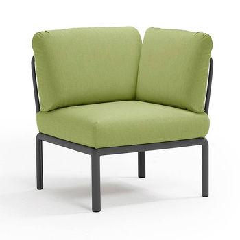 Кресло модуль угловой с подушками Nardi KOMODO ELEMENTO ANGOLO ANTRACITE-avocado Sunbrella 40374.02.139