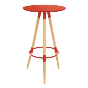 купить Круглый барный стол  из МДФ и деревянными ножками 600х1050 мм, красный в Кишинёве