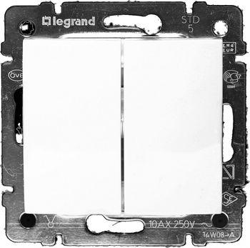 Legrand Проходной выключатель Valena двухклавишный