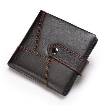 купить Mужской kошелек унисекс из натуральной кожи для денег и карт, коричневый в Кишинёве