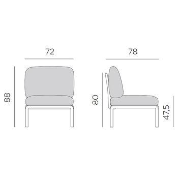Кресло модуль центральный с подушками Nardi KOMODO ELEMENTO CENTRALE AGAVE-canvas Sunbrella 40373.16.141