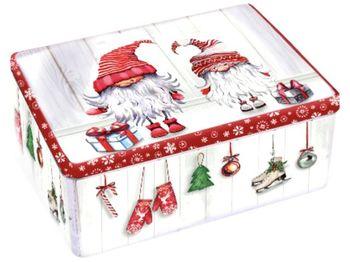 Коробка рождественская прямоугольная Гномы 18X11X7cm, металл