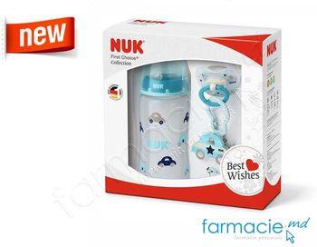 купить SET NUK collection blue (1 sticluta,1 suzeta,1 lant) (225156) в Кишинёве