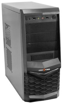 LogicPower 4002 (4 series) ATX Case, (450W, 24 pin, 2xSATA, 12cm fan), SECC material, 2xUSB/Audio, Black