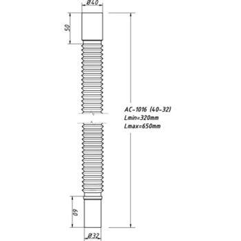 купить Гибкая труба б/гайки 40 х 32 L=650мм ОРИО в Кишинёве