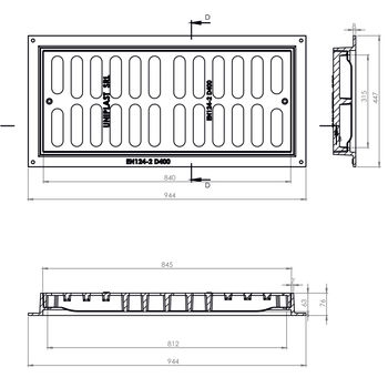 купить Решетка c рамой чугунная канализационная 315 х 840мм х 63мм EN124 D400  (447 х 944 х 76mm) 40kg  IS в Кишинёве