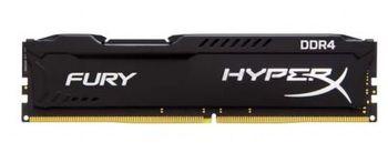 4GB DDR4-2400  Kingston HyperX® FURY DDR4, PC19200, CL15, 1.2V, Auto-overclocking, Asymmetric BLACK heat spreader, Intel XMP Ready (Extreme Memory Profiles)