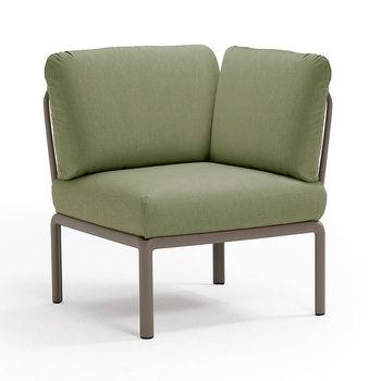 Кресло модуль угловой с подушками Nardi KOMODO ELEMENTO ANGOLO TORTORA-giungla Sunbrella 40374.10.140