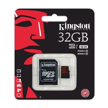 Kingston 32GB microSDHC Class10 UHS-I U3 with SD adapter, Ultimate, 633x, Read: 90Mb/s, Write: 80Mb/s