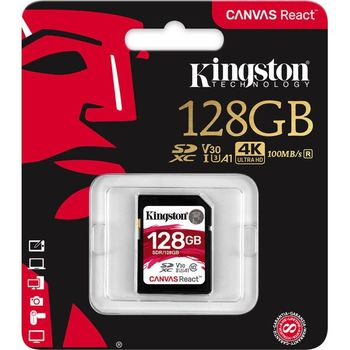128GB SD Class10 UHS-I U3 (V30)  Kingston Canvas React, Ultimate, 633x, Read: 100Mb/s, Write: 80Mb/s, Water/Shock and vibration/Temperature proof, Protected from airport x-rays, Ideal for shooting burst-mode photos and 4K video