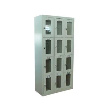 купить Металлический шкаф для хранения сумок12-и дверный, металлический со стеклянными дверями 1820x900x400 мм, RAL 7035 в Кишинёве