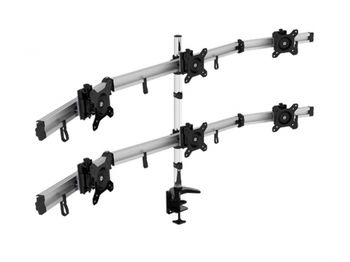 "Arm for 6 monitors 15""-24"" -  Vision Mounts VM-MP260C Black, Desk Clamp/Grommet,, Aluminum structure, Max.Load: 0-5kg, Fine height adjustment, VESA 75/100"