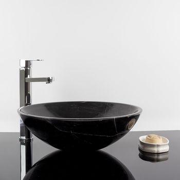 cumpără Chiuveta baie marmura Nero Marquina, 42 x 14 cm în Chișinău