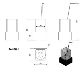 Биокамин - TANGO 1 гранит настольный/напольный