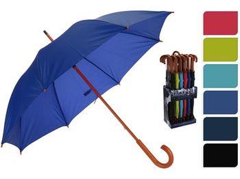 Зонт-трость мужской D134cm однотонный, деревянна ручка, 6 цв
