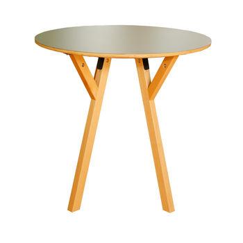 cumpără Masă rotundă din lemn cu picioare din lemn şi suport din metal 800x750 mm, negru în Chișinău