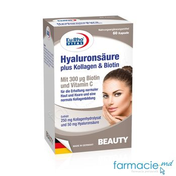 купить Acid Hyaluronic 50mg+Colagen 250mg+Biotin 300mcg caps. N60 EuRho Vital в Кишинёве