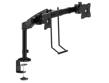 "Brateck LDT05-C011D Interactive Dual Monitor Desk Mount, 13""-24"" LCD monitors, +30° ~ -30° tilt; +90° ~ -90° swivel; 360° rotate, VESA: 75x75, 100x100, Arm Extend: 312mm, Clamp thickness: 10-88mm, Max load capacity 8Kg, Min 2Kg"