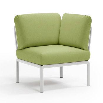 Кресло модуль угловой с подушками Nardi KOMODO ELEMENTO ANGOLO BIANCO-avocado Sunbrella 40374.00.139
