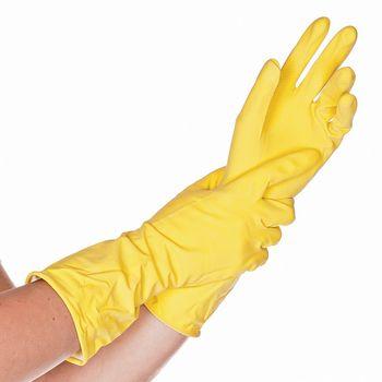 Перчатки бытовые BETTINA SOFT, латексные, желтые, 30СМ, размер L, HYGOSTAR, FM