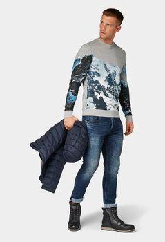 Трикотаж Tom Tailor Серый с принтом tom tailor 1014390