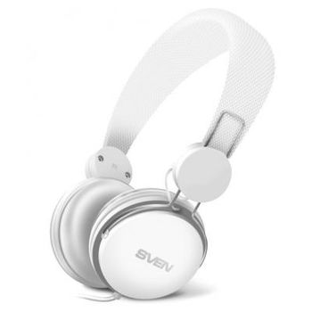SVEN AP-321M, Headphones with microphone, 3.5mm (4 pin) stereo mini-jack, Microphone on the cable, Call acceptance/Pause button, Cable length: 1.2m, White