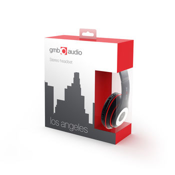 """Gembird MHS-LAX-B """"Los Angeles"""",Headphones with microphone, 3.5mm (4 pin), in-line control for volume, mute and microphone, Cable length: 1.8m, Black"""