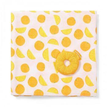 купить Пелёнка бамбуковая муслиновая Babyono Orange (120x120 см) + погремушка в Кишинёве
