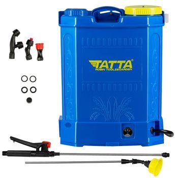 Опрыскиватель Tatta TP-1838A, с аккумулятором, 12В 8Ач, зарядное устройство 1 А, двигатель 3,6 л / мин, бак ранцевого типа, 18 л