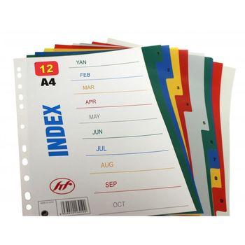 Индексный разделитель картон А4 12 цифр+цветов