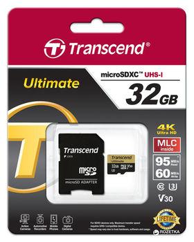 cumpără Transcend 32GB MicroSD (Class 10). UHS-I (U3) +SD adapter. în Chișinău