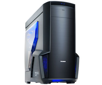 "ZALMAN ""Z11 NEO"" ATX Case, with Side-Window, without PSU, Tool-less, 5 fans pre-installed (2x 120mm Blue LED fan, 1x 120mm fan, 2x 80mm fan), Touch Sliding ODD door, Bottom mounted PSU, 2xUSB3.0, 2xUSB2.0 /Audio, Black"