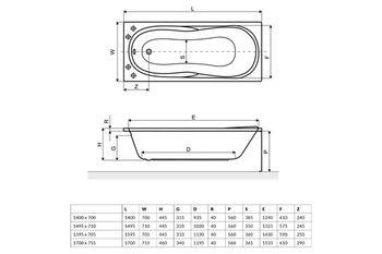 Ванна прямоугольная Excellent Sekwana 170