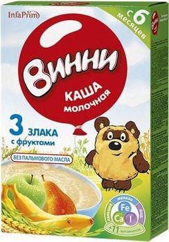 купить Винни каша 3 злака молочная с фруктами, 6+мес. 200г в Кишинёве