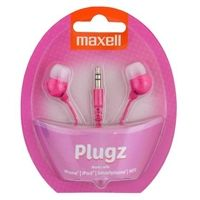 "MAXELL ""PLUGZ"" Pink, Earphones with in-line Microphone, Hands free calling features, 3 sets of ear tips, Fabric braided cord, Cord type cable 1.2 m"