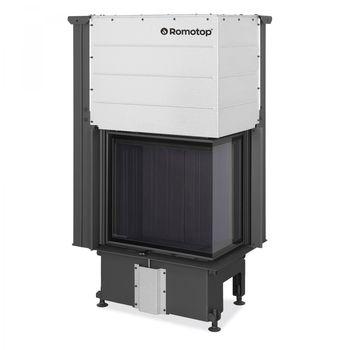 Kаминная топка ROMOTOP серии IMPRESSION R/L 2G L 58.60.34.21 - угловая, с подъемной дверцей и составным стеклом, темный шамот
