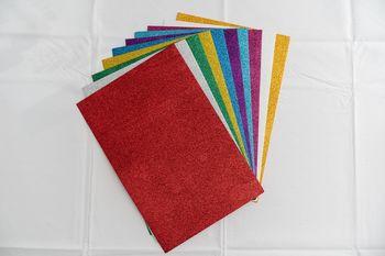 Set hirtie-gumata colorata cu sclipici autoadeziva /100/10