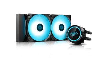 "DEEPCOOL Liquid Cooler ""GAMMAXX L240T BLUE"", Anti-leak Tech Inside, 2x 120mm fans with PWM control, fans: 500~1800rpm, pump: 2550rpm, 17.8dBA, 69.34CFM, 4 pin, Hydro Bearing, Copper"