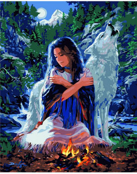 Картина по номерам 40х50 Девушка и волк VA-0291