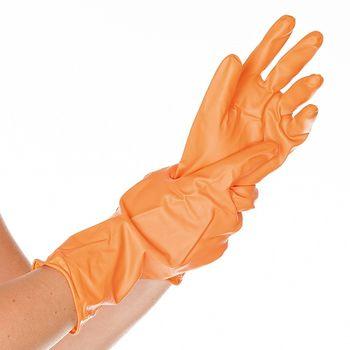 Хозяйственные перчатки VERA, ВИНИЛОВЫЕ, ОРАНЖЕВЫЕ, 30СМ, размер L