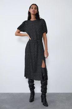 Платье ZARA Чёрный в горошек 1165/915/800