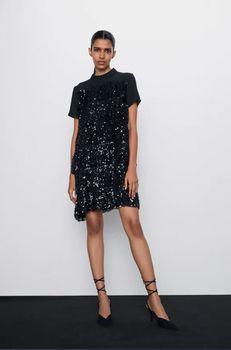 Платье ZARA Черный с блестками 0387/202/800