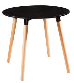 Стол с деревянной поверхностью и деревянными ножками, 1000x750 мм, черный