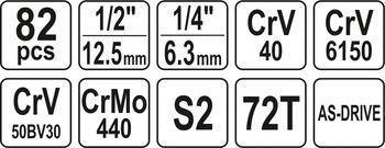 """cumpără Set de chei 1/4 """", 3/8"""", 1/2 """"82 elemente YATO 12691 în Chișinău"""
