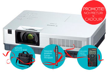 "MMProjector Canon LV-7392A + Gift Kit, 3xLCD (0.63""), 3000 Lumen (6000 hours), 2000:1, 4:3, 1024x768 (XGA,up to WUXGA / HD 1080p/i), 1.2x Zoom Lens, Ultra-quiet 29dbA, 10W Speaker, Auto Keystone Correction, LAN, HDMI, RGB in/out, RCA, S-Video, NSHA"