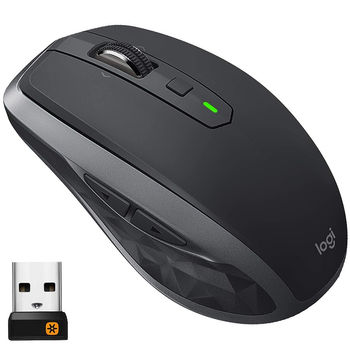 Logitech MX Anywhere 2S Graphite Wireless Mouse, Multi-computer workflow, Bluetooth Smart, USB Unifying Receiver, 910-005153 (mouse fara fir/беспроводная мышь)