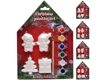 Набор рождественский креативн.(4фигур 6краски кисть), керами