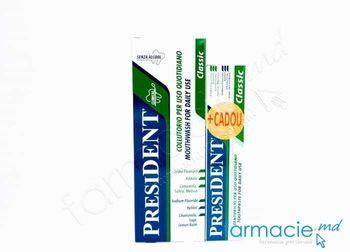 купить Apa de gura President Classic 250ml+Pasta de dinti President Classic 50ml CADOU в Кишинёве