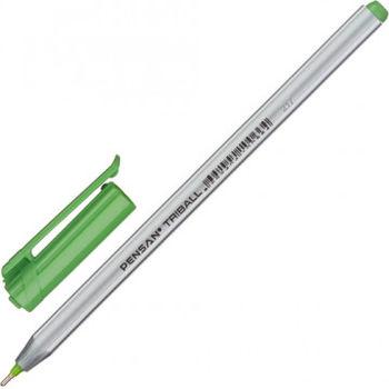 """Ручка  масляная PENSAN """"Triball"""", ЗЕЛЁНАЯ, трехгранная, 1 мм,"""